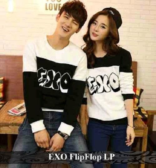 LenganPanjang Baju Couple Lengan Panjang Kaos Pasangan Simple EXO FlipFlop