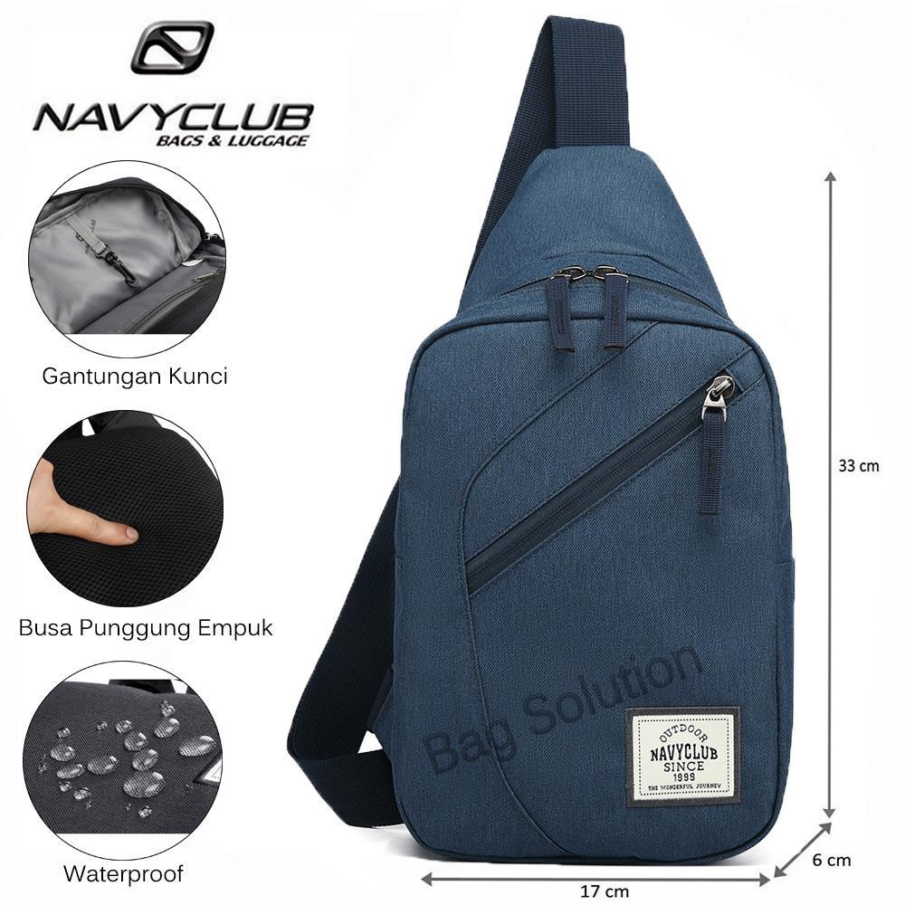 Navy Club Tas Selempang Travel - Tas Punggung Tas Dada Tahan Air - Sling Bag Tas Pria Tas Wanita Tas Slempang Pria 5032 - Biru Tua