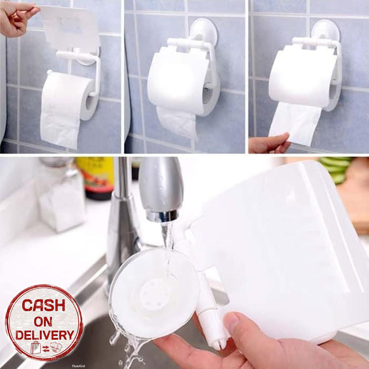 Kado Unik-- Tempat Tissue Gulung Vacum / Toilet Roll Holder With Suction Vacum Tanpa Paku / Wadah Storage Kamar Mandi / Tempat Tissue Gulung Rol / Tempat Tissue Gulung Rol Murah