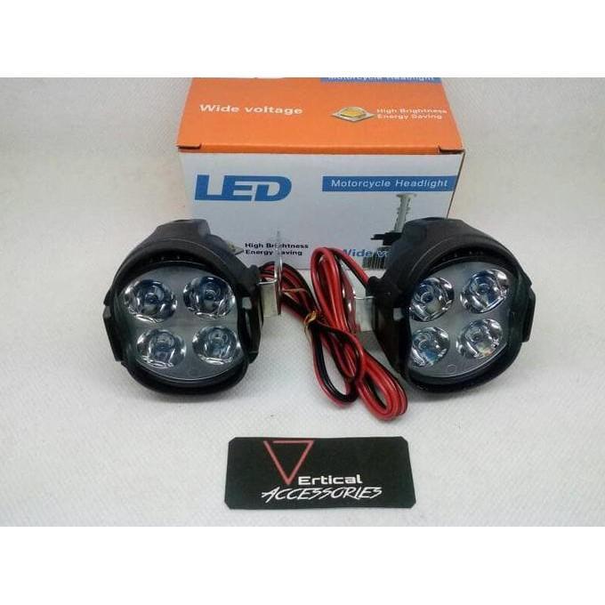 Lampu Led Sorot 4 Mata Luxeon 1 Mode Tidak Kedip 9-85V 10Watt - Motor