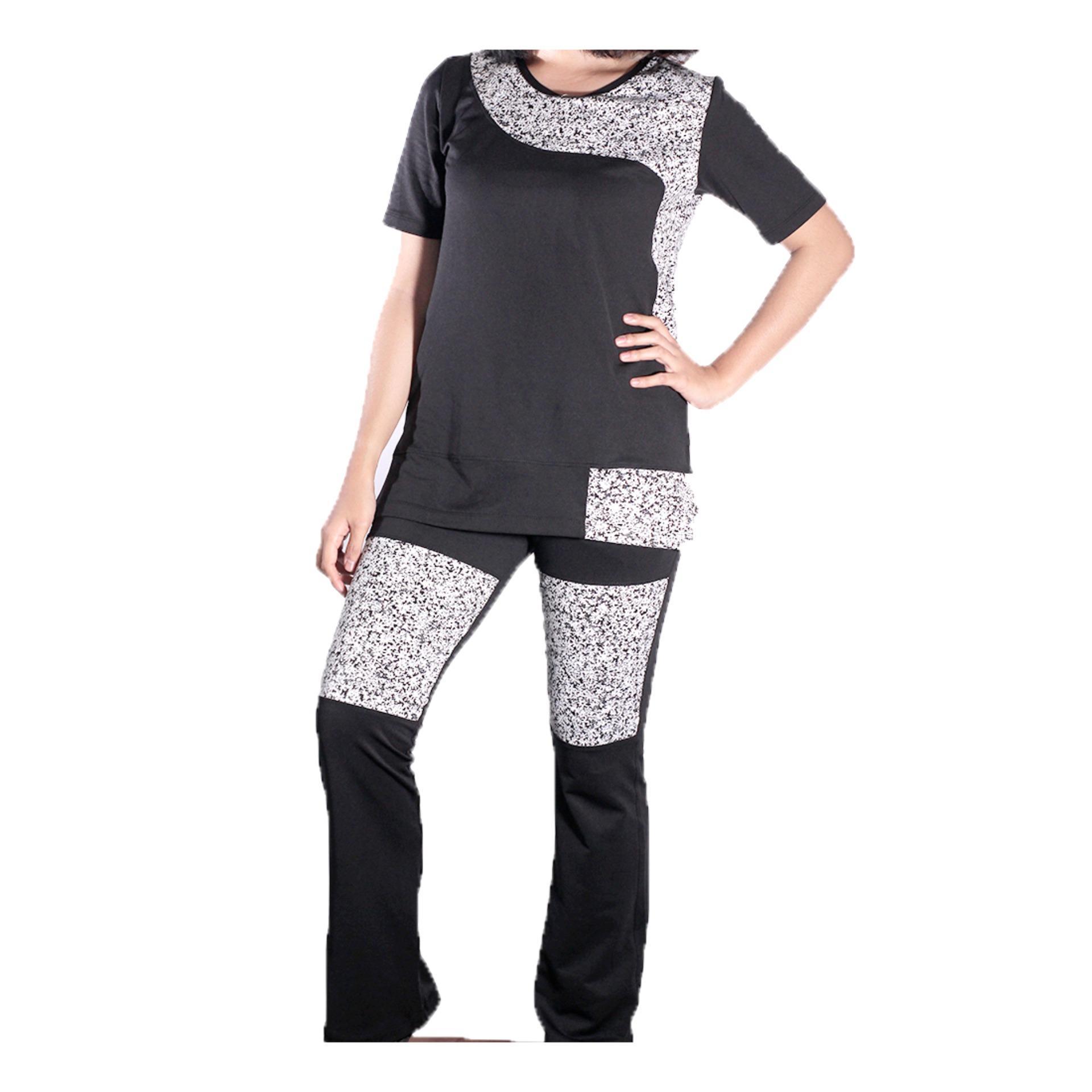 Mall BTM Fashion - Diana Pakaian Senam Wanita Model Atasan Dan Bawahan Panjang Harga Murah - Hitam