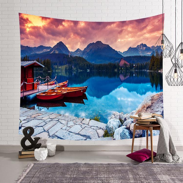 200*150cm Ocean Theme and Ship Tapestry Wall Hanging Carpet Beach Towel Blanket Yoga Mat Bohemian