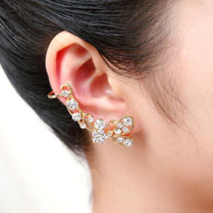 OILA  Anting kupu berlian earrings Korean diamond butterfly long JAN003