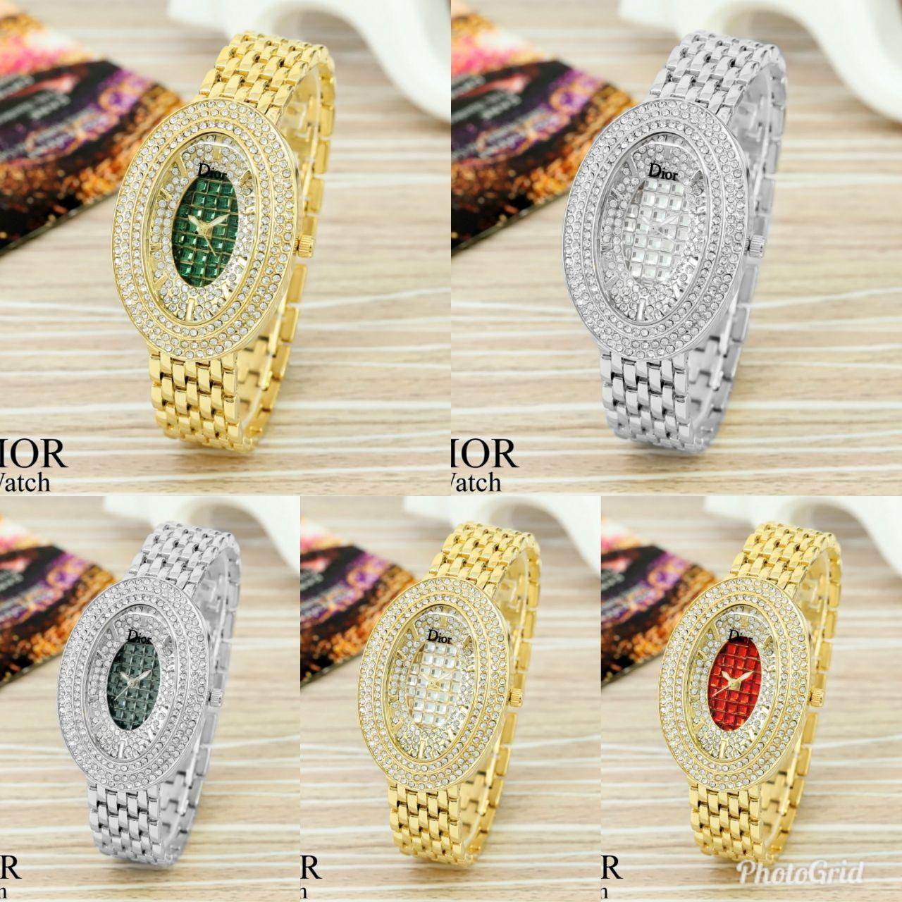 DIOR Watch Full Diamond Ovaline /jam tangan wanita/fashion/fashion wanita/jam tangan