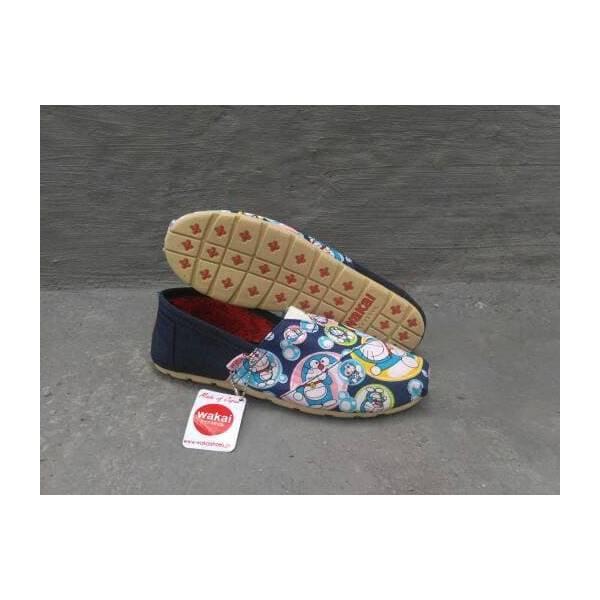 Sepatu Wakai Flat Shoes Doraemon Navy Slip On Cewe Cowo Wakai Hashigo