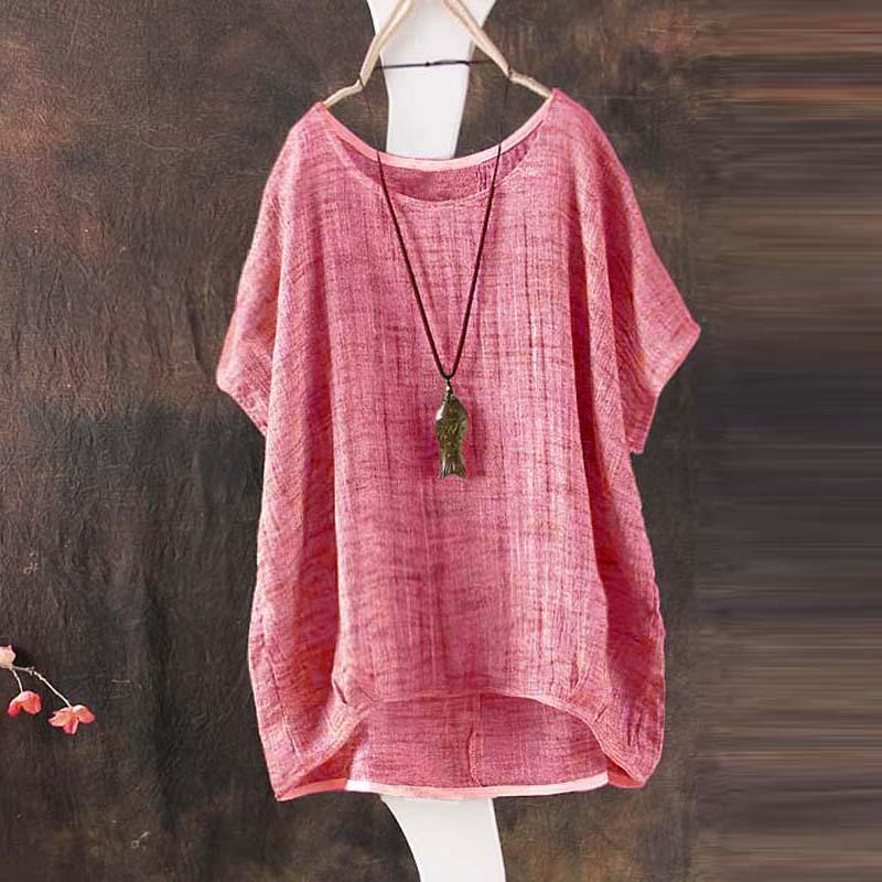 Zanzea Katun Linen Terbaik Sweter Tanpa Kancing Wanita O Leher Musim Panas Lengan Batwing Blus Merah-Internasional