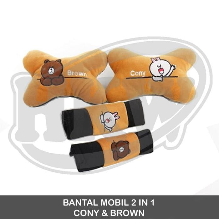 Bantal 2 In 1 Cony Brown Line Mobil Freed