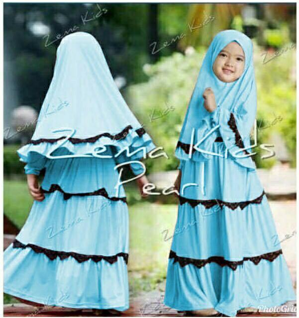 Zema Syari Kid Biru Muda Pakaian Muslim Gamis Hijab Baju Lebaran Anak