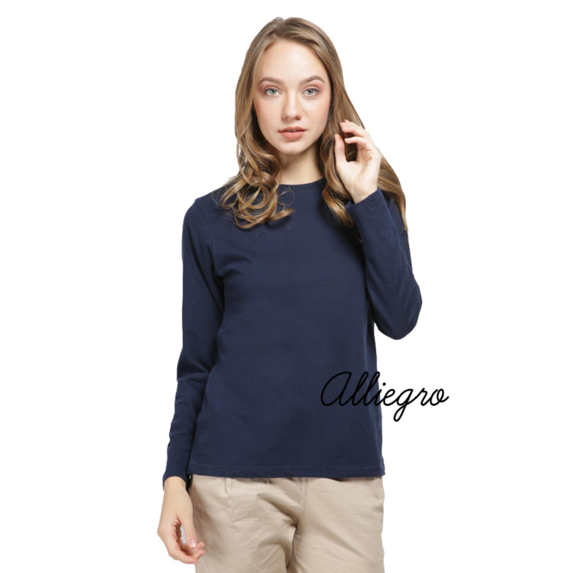 Alliegro Kaos Polos Wanita Lengan Panjang Navy - T-Shirt Kaos Distro Cewek Tumblr Tee Premium Kaos Atasan Wanita Biru Dongker