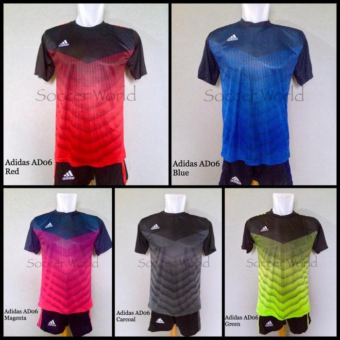 Baju Kaos Olahraga Jersey Bola Setelan Futsal Adidas AD06 Murah