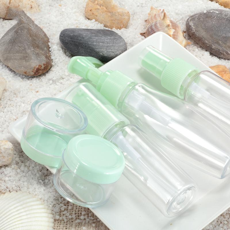 7 pcs Travel Bottle Set Botol Perlengkapan Travel Tempat Penyimpanan Serbaguna Sabun Cair Shampoo Body Lotion Conditioner