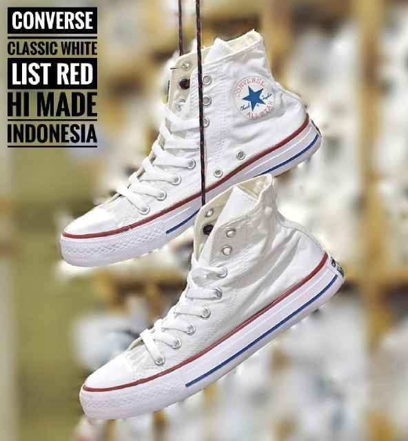 Promo Sepatu Murah Converse Classic Hi Original Indo White Lis Red Unisex Diskon