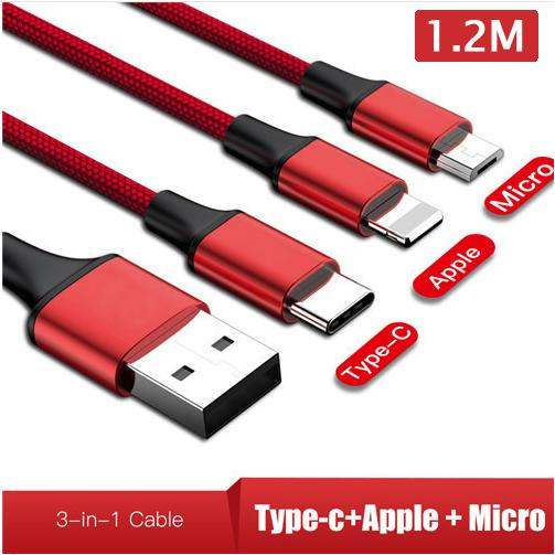 3in1 Micro USB Tipe C Kabel untuk Samsung Galaxy S9 S8 Plus Kabel USB untuk iPhone 8 7 6 Cepat Pengisian untuk Vivo Oppo Android Xiaomi