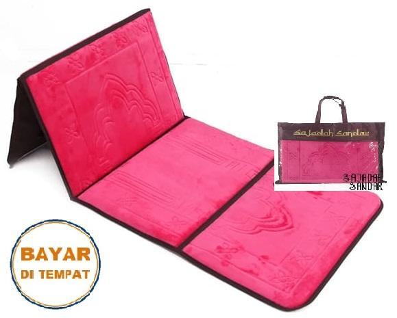 (MERAH MUDA) 1 Sajadah Sandar Surabaya 100% Premium Quality Sajadah Lipat Portable Beludru