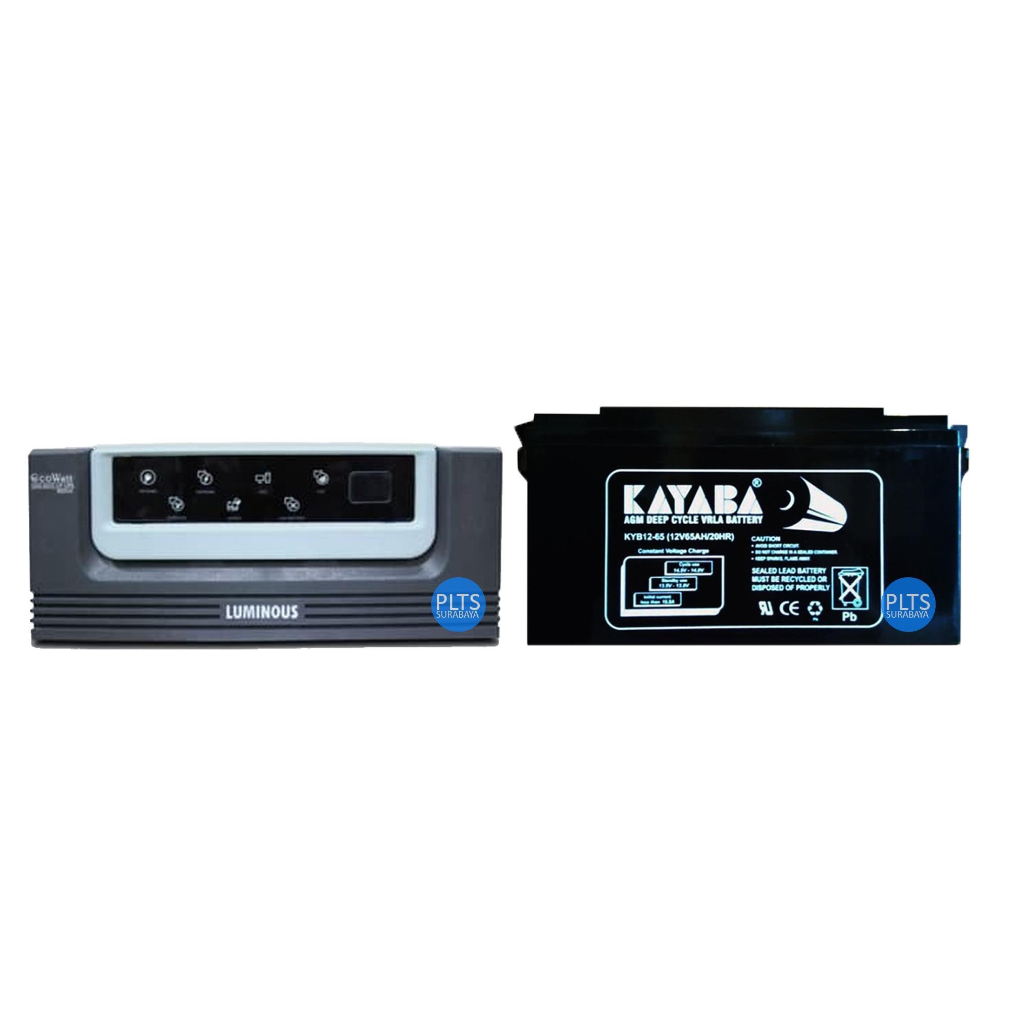 Paket Hemat Inverter Luminous Ecowatt 900VA +  Baterai Kering VRLA KAYABA 12v 65Ah