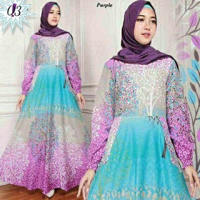(JNH Shop)  Gamis Maxy Bunga Ima Purple Baju Wanita Bagus Murah Maxi 03 Ungu TA