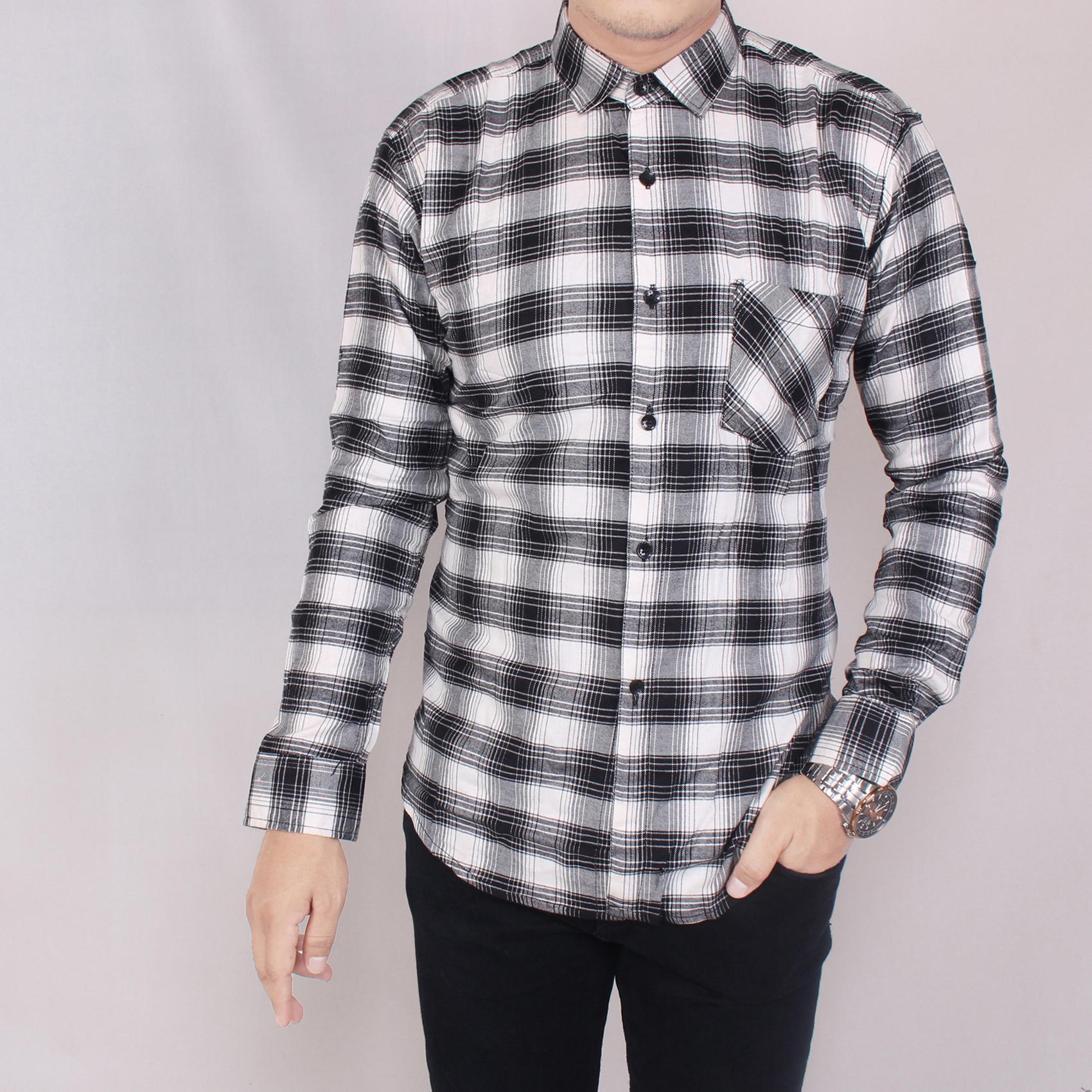 Zoeystore 5710 Kemeja Flanel Pria Lengan Pendek Exclusive Baju Kemeja Flannel Cowok Kerja Kantoran Formal Kemeja Distro Hitam Kotak Putih
