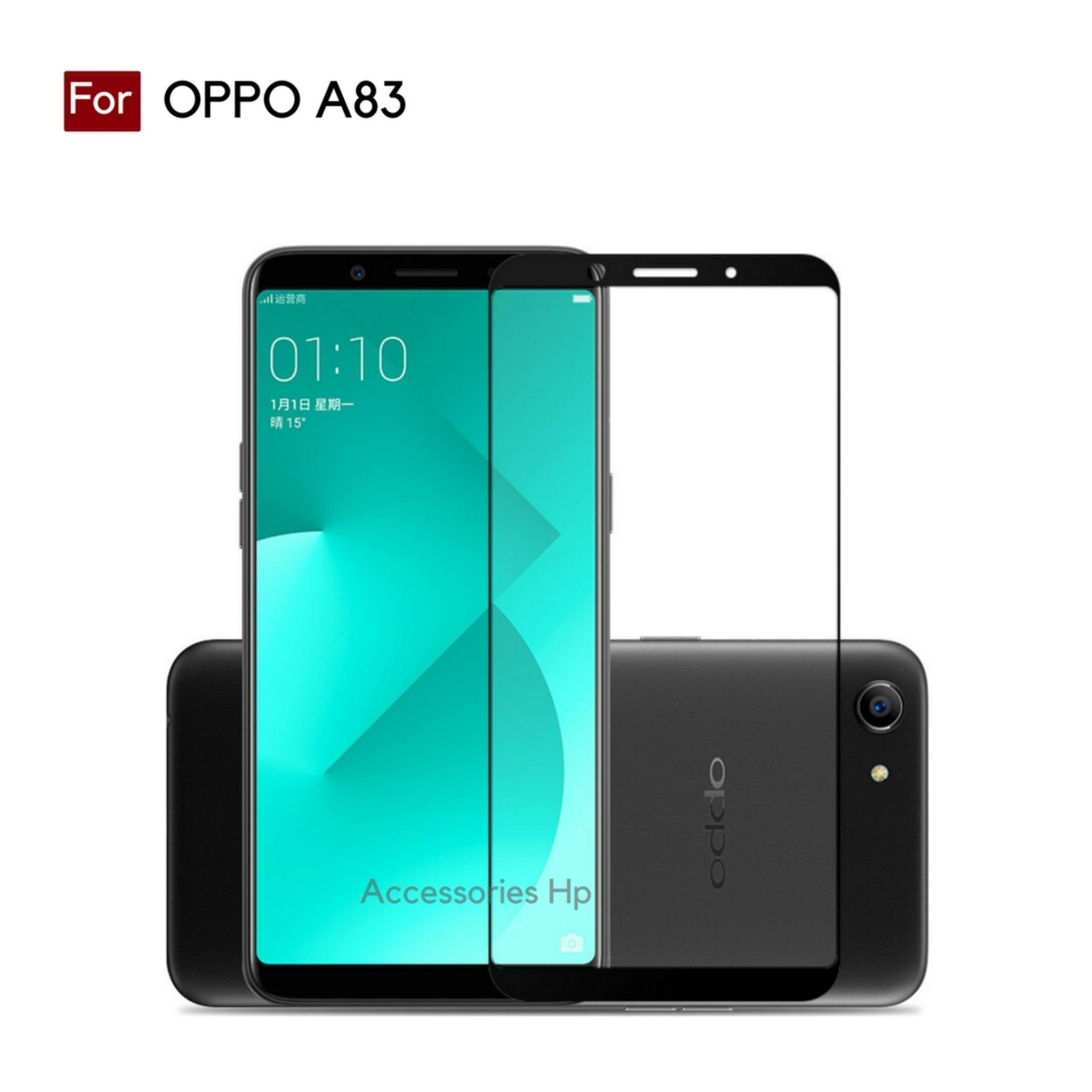 Accessories Hp Full Cover Tempered Glass Warna Screen Protector for OPPO A83 - Black