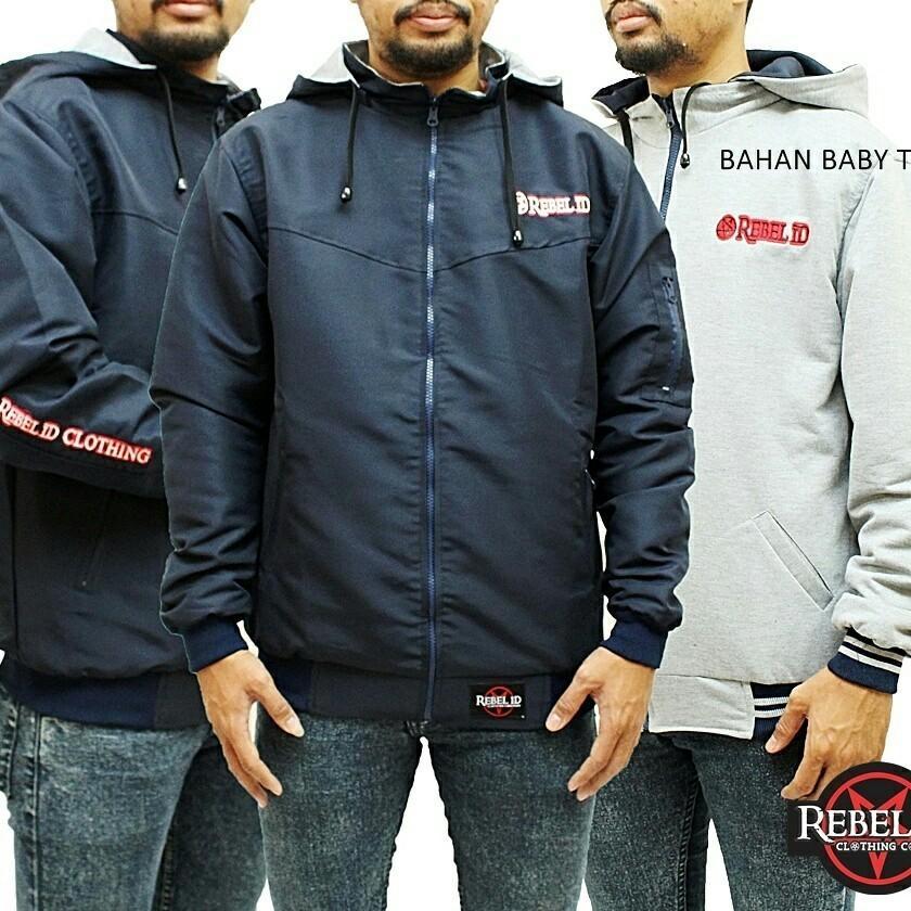 Jaket Taslan Hoodie Bolak Balik Original Rebel Id Navyblue - Oenzie Store