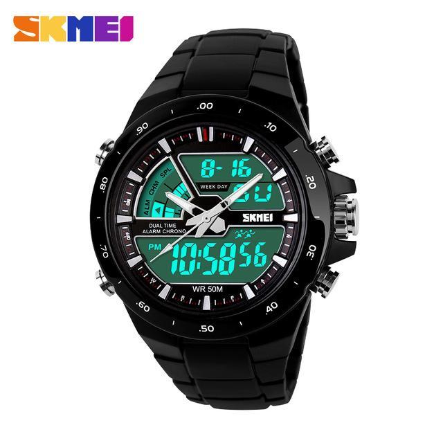 SKMEI 1016 Jam Tangan Olahraga Wanita Dual Time Analag Digital Sport Water Resistant 50M - Black