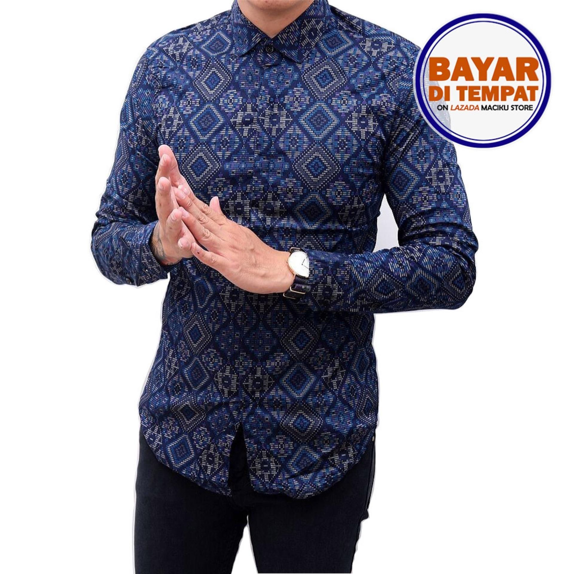 Kemeja Batik Songket Pria Panjang Kerja Kantor Slimfit / Baju Batik Navy