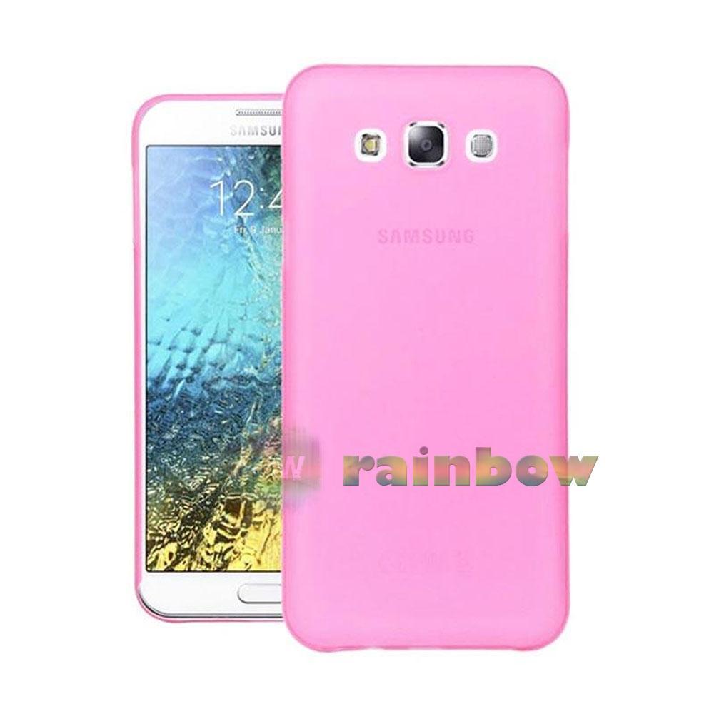 Ume Ultrathin Soft Case Samsung Galaxy E5 E500 Pink Clear Air Case / Silikon Case Samsung E5 / Jelly Case Unik / case Hp / Silicone Casing Samsung E500 - Pink