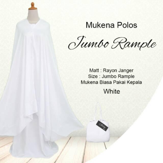 Mukena Polos EXCLUSIVE Jumbo Rempel Rayon Bali Murah White Putih Polos