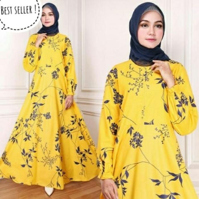 (JNH Shop)  Gamis Maxy Bunga Ima Yellow Baju Wanita Bagus Murah Maxi 32 Kuning TA