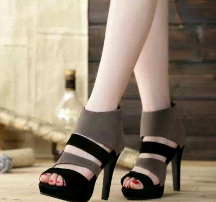 Sepatu Wanita High Heels NS05 ABU/HTM Elegant utk Pesta dan Kerja Murah Berkualitas