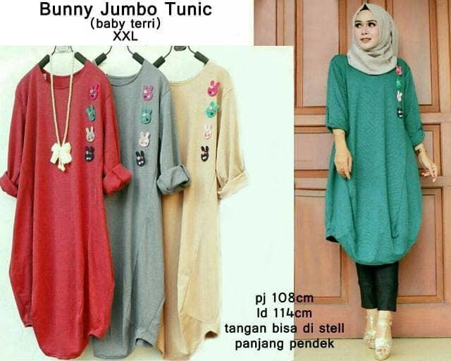 53384 bunny jumbo tunic / baju tunik jumbo / atasan muslim bigsize murah / Baju wanita / baju murah / baju atasan wanita / Baju wanita murah / baju wanita jumbo / baju polos / naju wanita polo