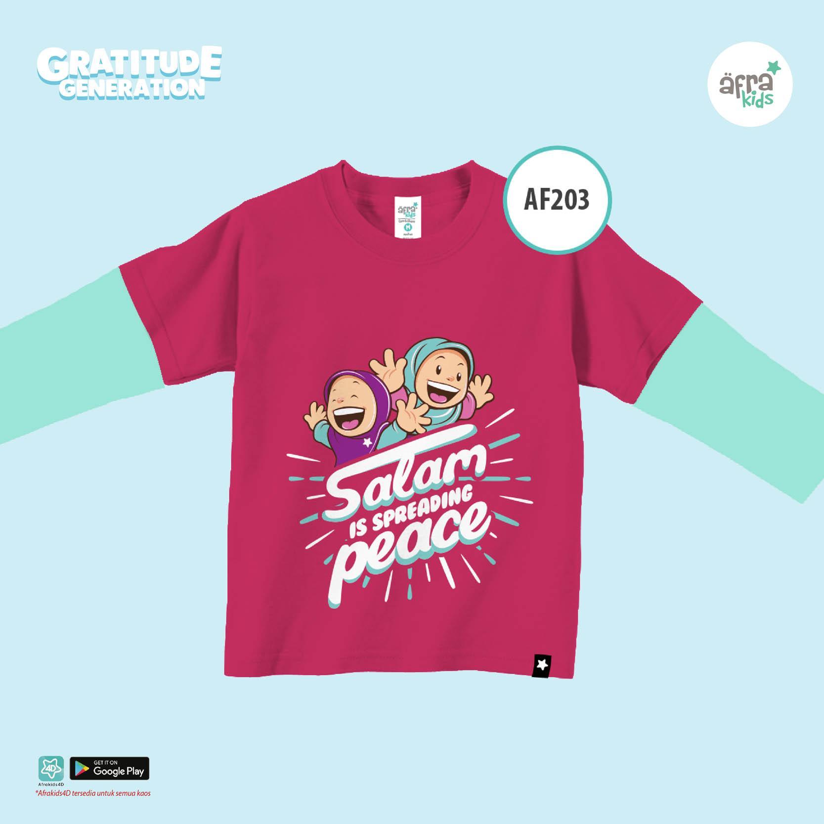 Aria Baju Kaos Anak Afrakids / Baju Kaos Anak Cewek / Baju Kaos Lengan Panjang Perempuan / AF203 -  Magenta