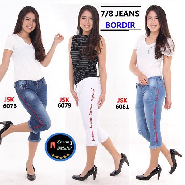 Celana 7/8 Jeans Celana Pendek Stretch Bordir Terbaru Supreme White Rumbai Trendy Gaul JSK