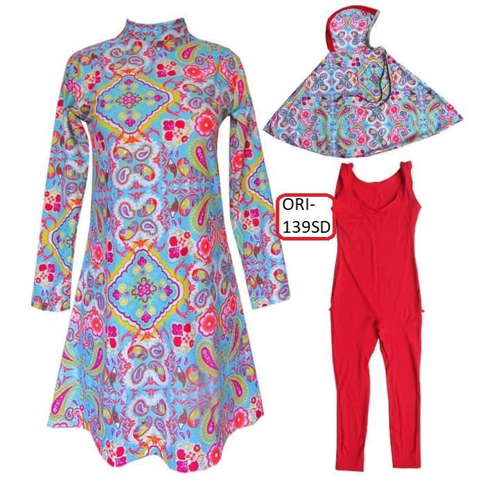 Baju Renang Anak Muslim Syari - 139 - Motif Batik - Daleman Merah
