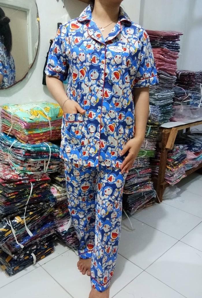 Piyama Doraemon Murah / Lengan pendek Celana panjang / Katun jepang - Hitam, XL / Baju tidur wanita / baju tidur murah / piyama wanita / piyama tidur wanita murah / daster baju wanita jumbo /  daster / daster polos / daster
