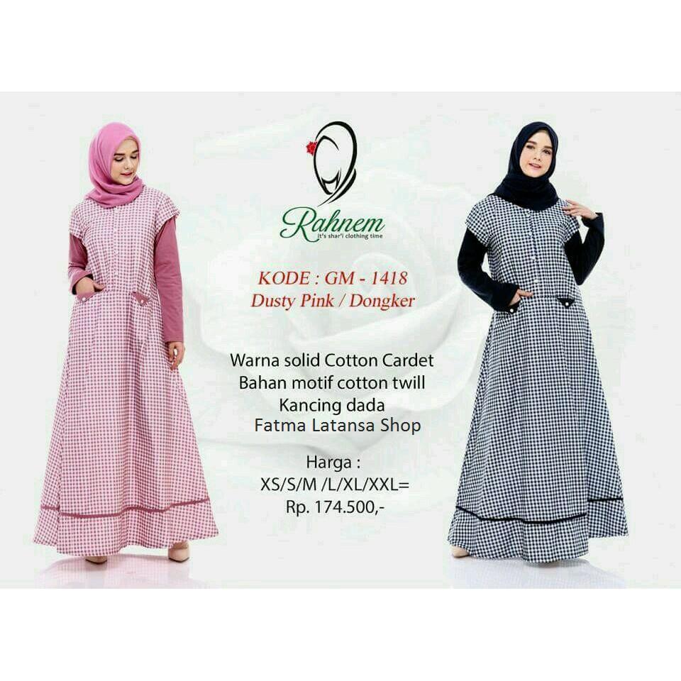 Gamis katun / Rahnem GM 1418 / gamis wanita / gamis terbaru / dress / blouse / gamis wanita / gamis Dongker