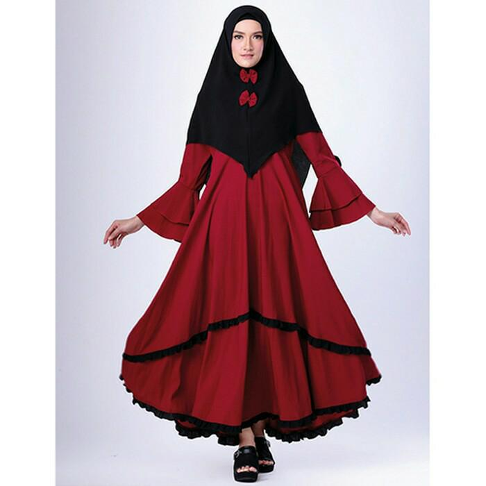 Promo Stelan Gamis Wanita Merah - Baju Muslim Lebaran Terbaru - Distro Gf Fashion
