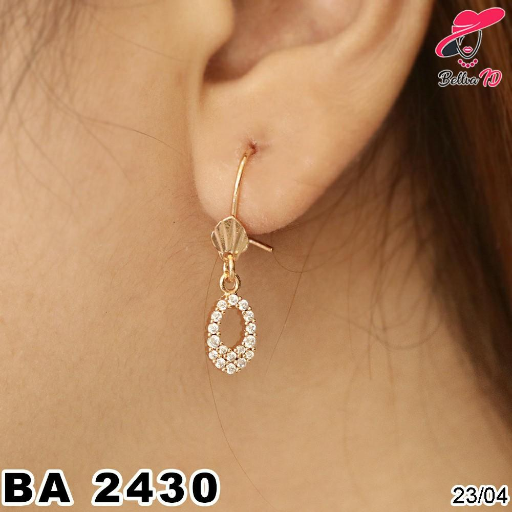 Jual Perhiasan Anting Emas Lingkaran Kerang Full Permata A 2430