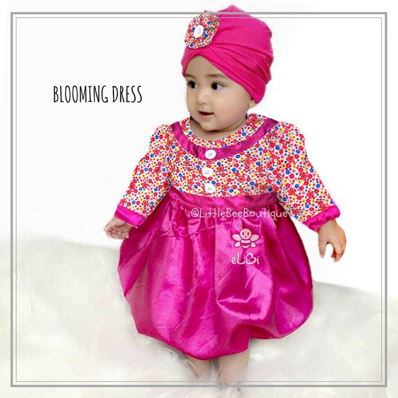 eLBi - Baju Pesta Blooming Dress - Baju Muslim Anak Balita Size 6-12 Bulan / Baju Bayi Cewek / Baju Bayi Perempuan / Baju Bayi Lucu / Baju Anak Anak / Baju Anak Perempuan / Baju Anak Cewek by Little Bee Boutique