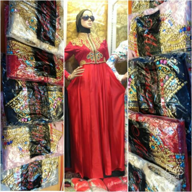 Realpict Maxidress Rompi Dian Pelangi / Dress Jaguard Payet