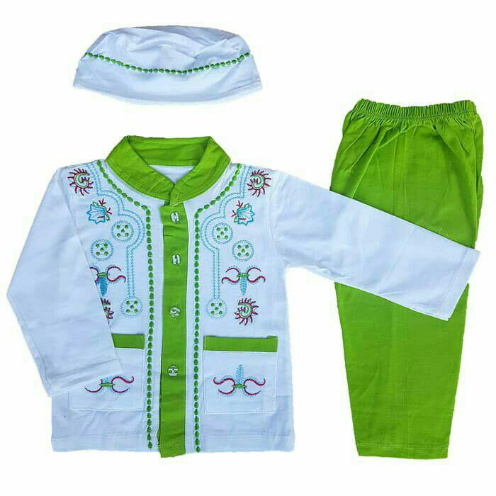Baju Muslim Koko (6-12 Bulan) Anak Bayi Laki-Laki Stelan Set Peci LY5