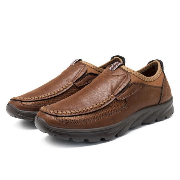 Modis Pria Ukuran Besar Jahitan Tangan Serat Mikro Kulit Tidak Tergelincir Kasual Loafer Datar Sepatu-Internasional