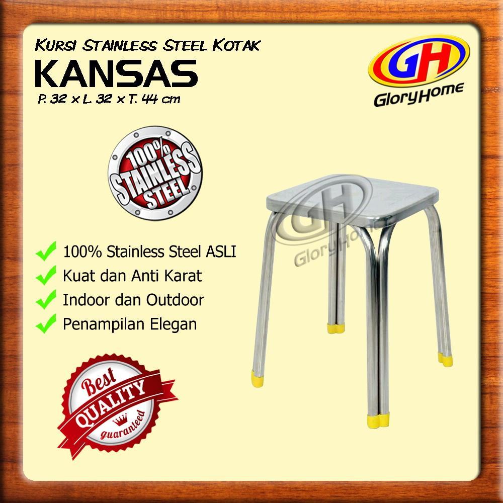Kursi Baso Stainless Steel Kotak / Kursi Santai Minimalis / Tanpa Sandaran / Bukan Plastik