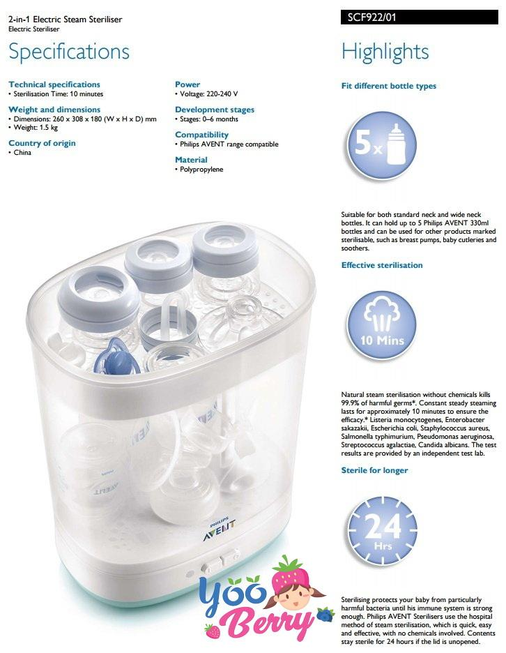 YooBerry 2-in-1 Electric Steam Sterilizer Philips Avent (1 .