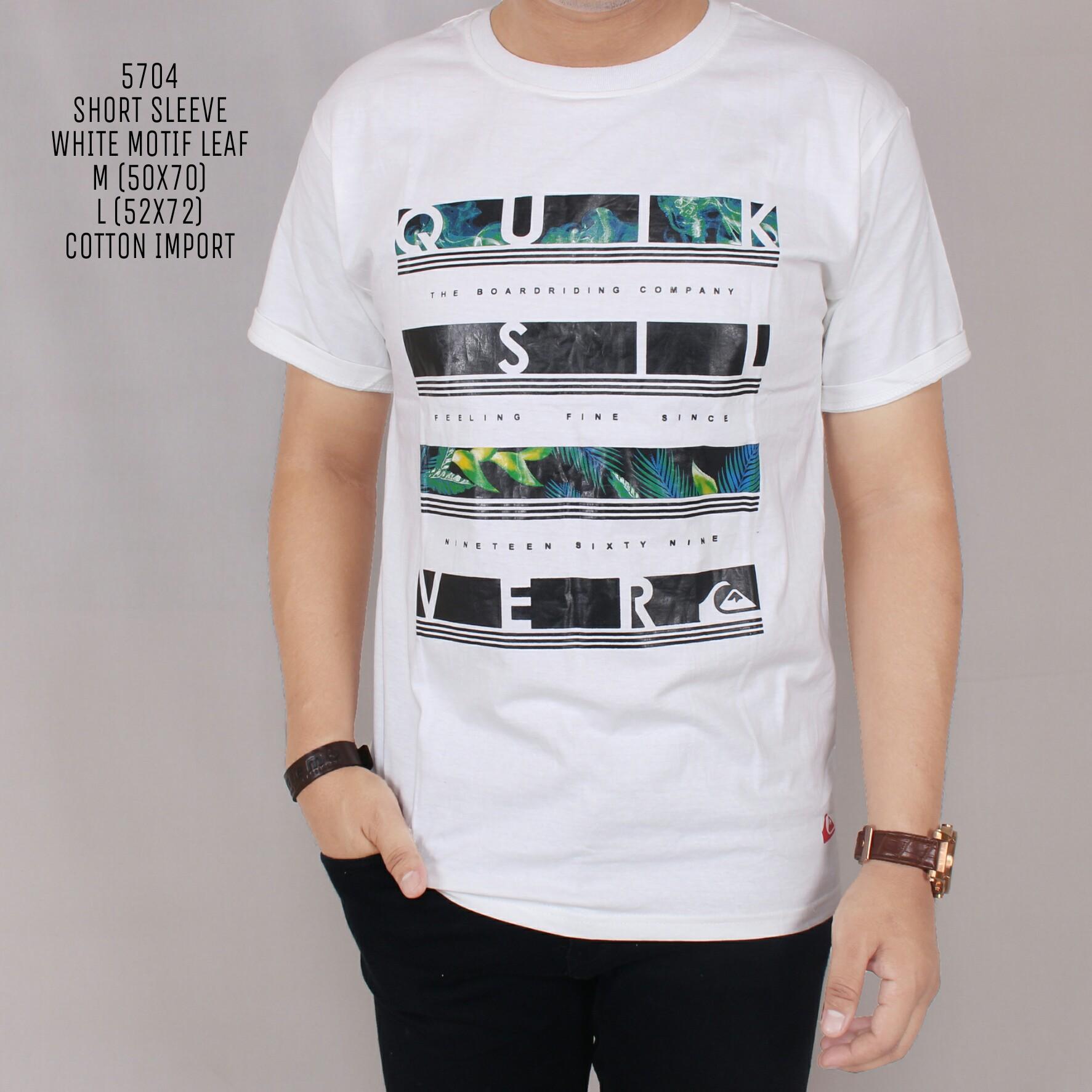 Zoeystore1 5704 Kaos Pria Lengan Pendek Kaos Exclusive Lengan Pendek Baju Kaos Cowok Trendy Motif Leaf