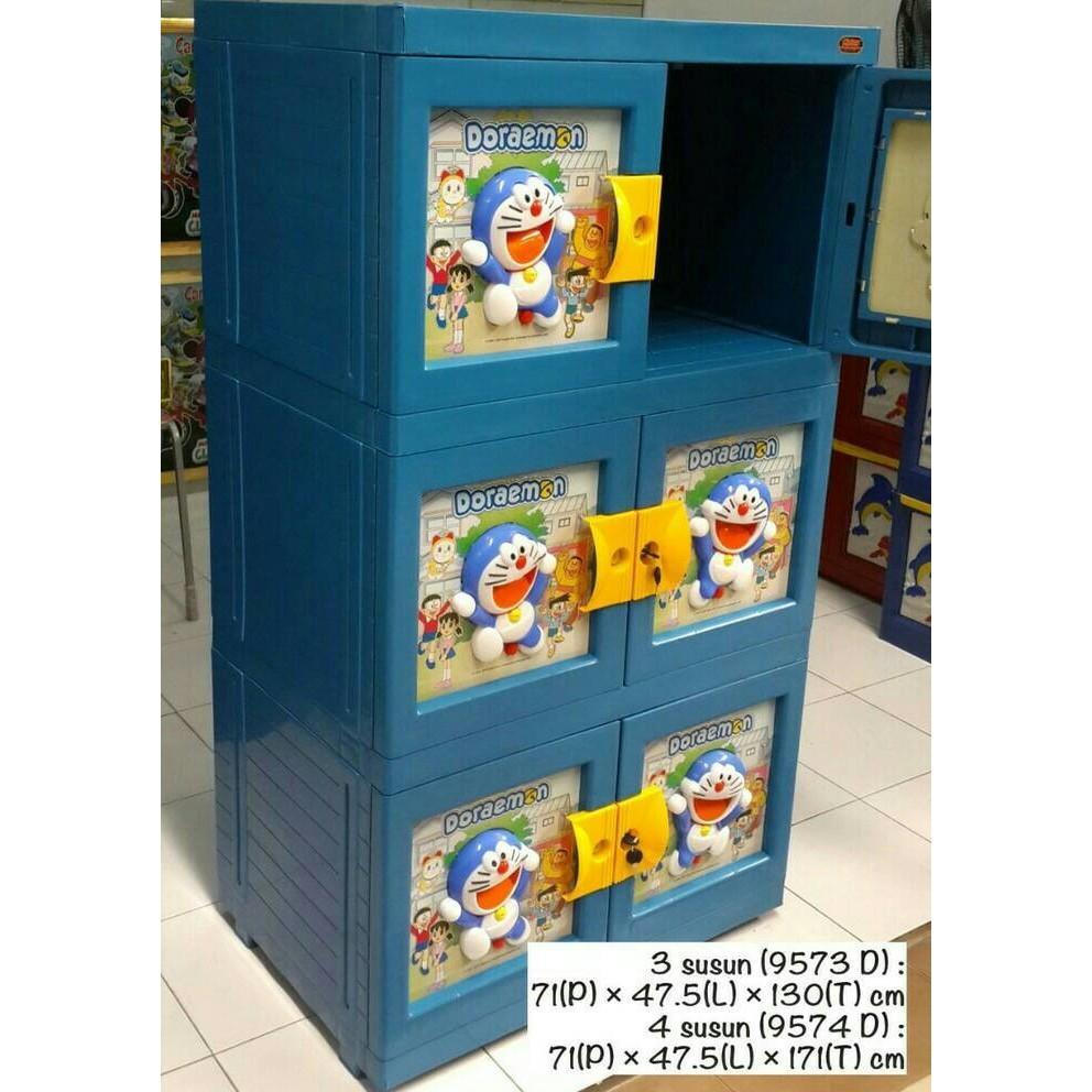 Lemari Plastik Doraemon /Kabinet Plastik NAIBA DORAEMON 3 Susun Ready Stock
