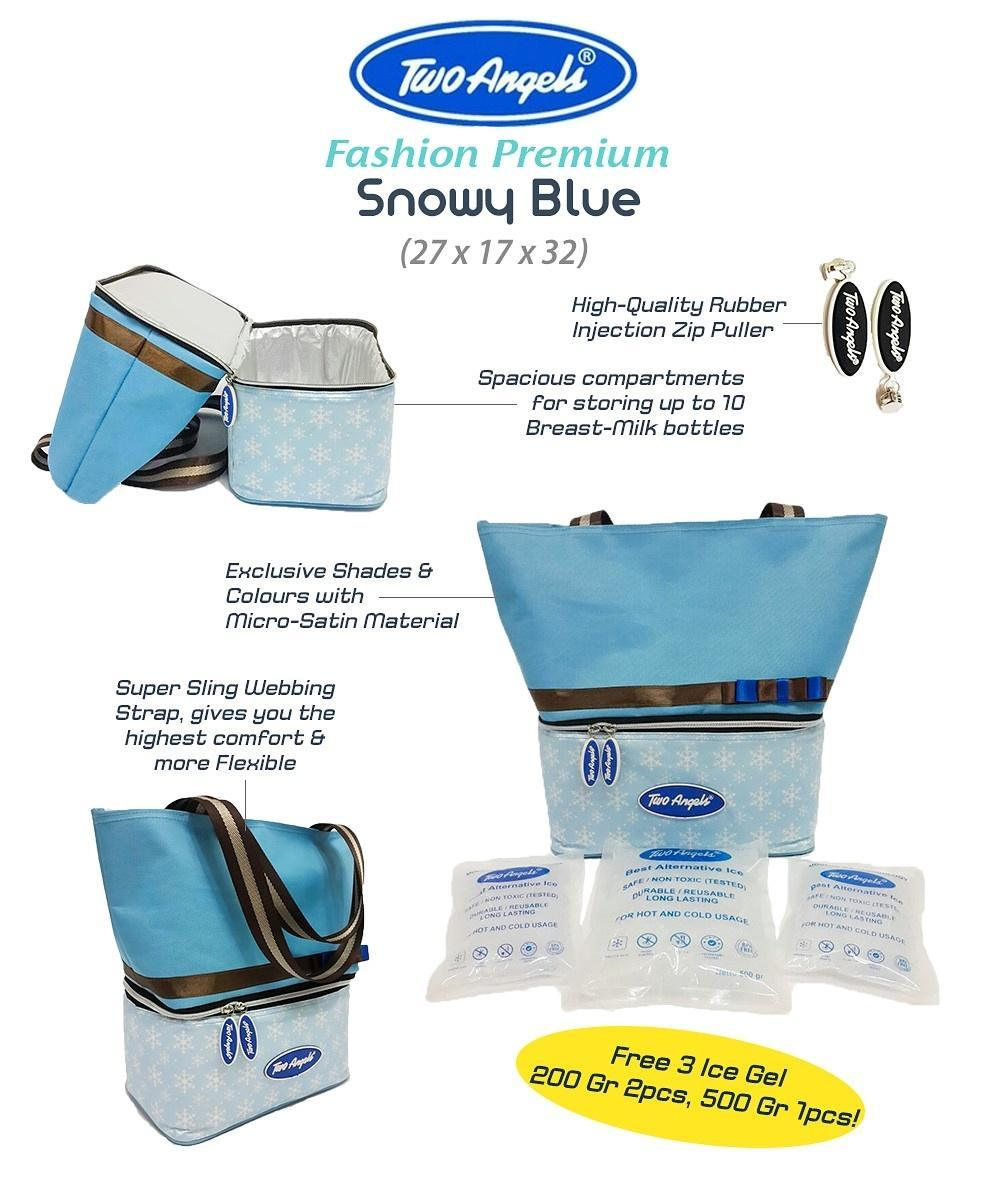 TWO ANGELS COOLER BAG FASHION PREMIUM SNOWY BLUE - Free 3 Ice Gel