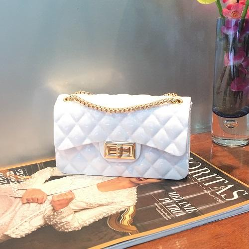 clutch pesta fashion bag jelly rubber 21080 glossybag tas import simple elegan partybag kondangan