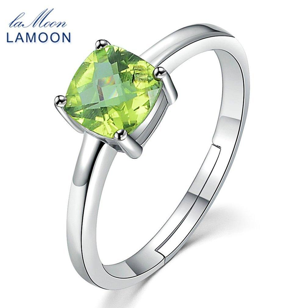 LALOVE LAMOON 6mm Natural Square Cut Peridot 925 Sterling Silver Simple Peridot Engagenment Ring Romantic Gift
