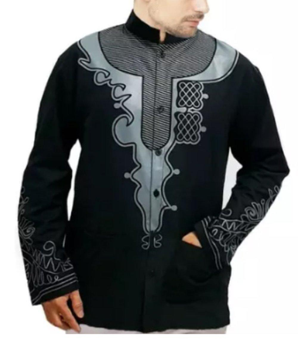 KEM KOKO BLACK PANTHER MIX BAJU MUSLIM FASHION PRIA KEMAJA FORMAL ATASAN KATUN STRECH