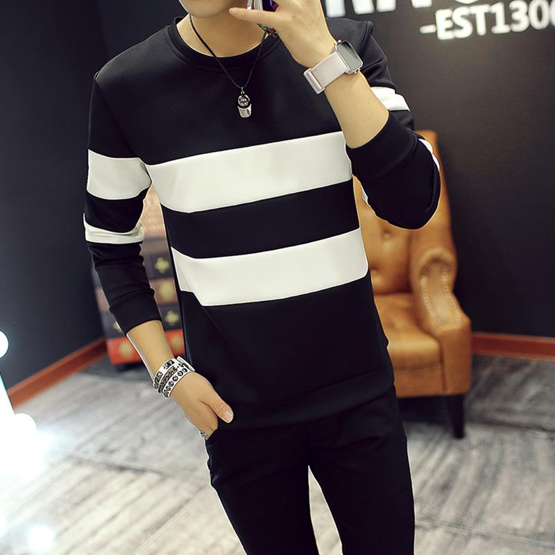 Mens Korean-Style Hoodie (cross Striped Long-Sleeved Sweater Black) By Taobao Collection.